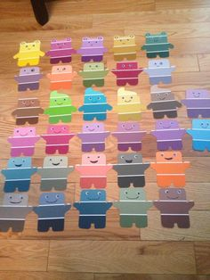 My paint chip door decs... Cute idea, I have so many paint chips I collected from last summer