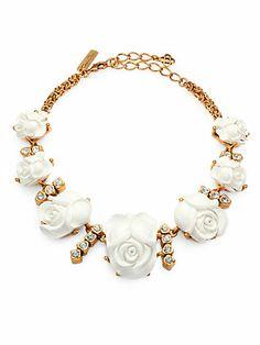 Shop now: Oscar de la Renta Carved Rose Crystal Necklace