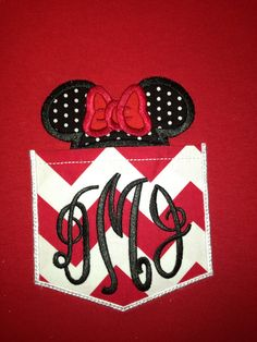 Minnie monogrammed pocket tee by SassyFrassGiftery on Etsy, $20.00. This would be fun if we go back.