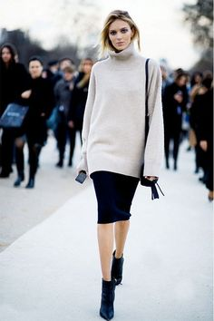 turtleneck + pencil skirt