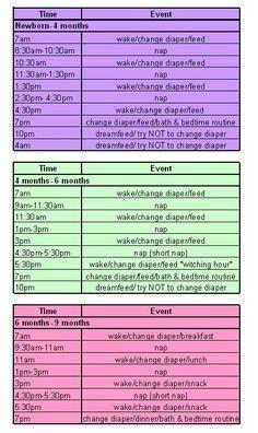 Daily Schedule 6 Month Old   April Calendar   April Calendar
