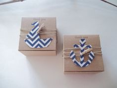 40 Nautical baby shower anchor favor box  Birthday favor any special event nautical 3x3x2 kraft box on Etsy, $74.38 CAD