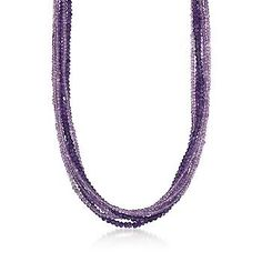 The six strands of glittery beads on this amethyst and Rose de France amethyst necklace are deep violet and pale lilac in color, draped in a loose twist. >>Click on the Amethyst Necklace to browse the Ross-Simons collection.