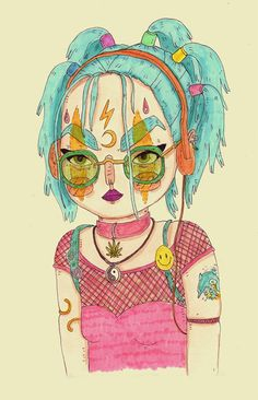 90s Raver Girl original artwork by Gemma Flack