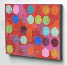 Abacus abstract collage ORIGINAL PAINTING by ElizabethRosenArt