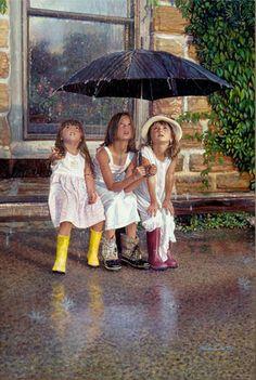 . little girls, picture this, steve hank, art, umbrella, summer rain, friend, rainy day fun, april showers