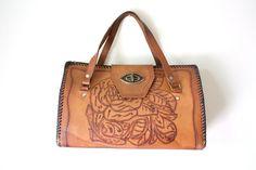 Vintage Handbag 1970s Bohemian Chestnut Brown by VimVigorVintage, $56.00