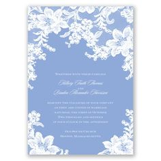Add just a touch of vintage elegance to your invitations with this simple lace style. Personalize your fonts and color for a look that is all your own. #davidsbridal #weddinginvitations #lace
