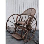 ANTIQUE WOOD & CANE WHEELCHAIR
