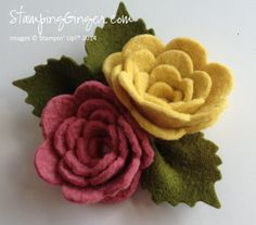 Felted wood roses using the Sizzix Spiral Flower die via Stampin' Up!®
