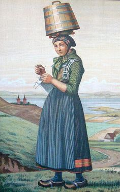 "Refnaes    An image from F. C. Lund's portfolio, ""Dansk Nationaldragter"" from the Historiemaler Series (Kolding, 1915)    Lund's series is on historic Danish folk costumes, and interestingly, several of his models knit or wear knitted garments. This image depicts a girl from Refsnæs (in north Jutland, or Nordjylland), who knits while she walks in wooden shoes, also carrying what looks like a cask of butter on her head."
