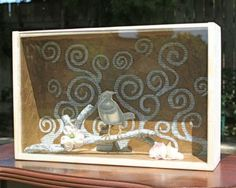 recycled shadow box - paper lining