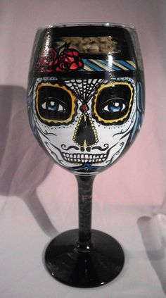 Day of the Dead Hand painted wine glass by artsyleenies on Etsy