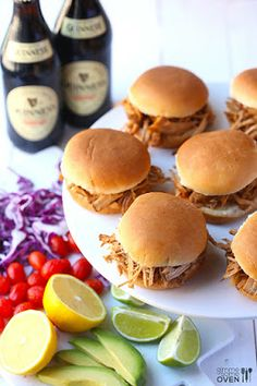 Slow Cooker Guinness Pulled Pork Sliders from Gimme Some Oven are a perfect idea for a summer dinner! [via Slow Cooker from Scratch] #SlowCooker #CrockPot #SummerDinner