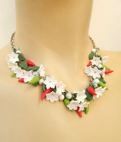 Red chili pepper  Handmade necklace earrings  by insoujewelry, $70.00