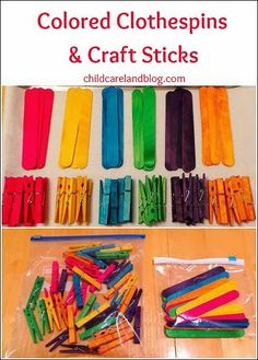 DIY - Colored Clothespins and Craft Sticks  - pinned by @PediaStaff – Please Visit  ht.ly/63sNt for all our pediatric therapy pins