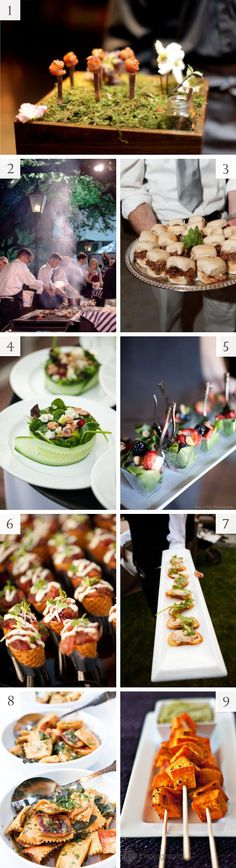 Modern wedding catering and food display ideas- love the small salads paired with family style food
