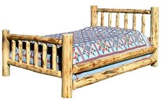 Rustic Log Queen Bed