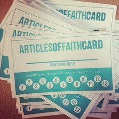 Articles of Faith Printable Punchcard