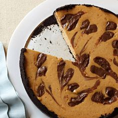 Pumpkin Swirl Cheesecake #thanksgiving #desserts #pumpkins #holidays