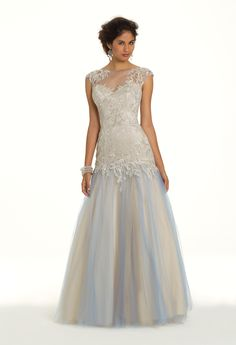 Camille La Vie Lace with Appliques and Beaded Illusion Prom Dress
