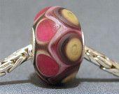 SRA Handmade Lampwork Glass Big Hole Bead OOAK Euro Bracelet Charm Fits Trolbeads Raspberry Truffle