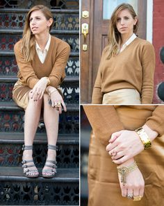 J.Crew Collection cashmere sweater, vintage skirt, and J.Crew gladiator shoes.