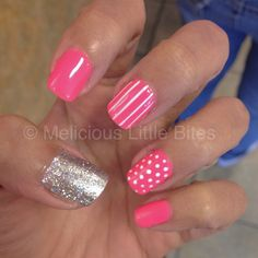 Love my nails! #polkadots #lines #hotpink #silver
