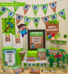 Minecraft Birthday Party DIY Printable Kit - INSTANT DOWNLOAD - minecraft inspired on Etsy, $17.87