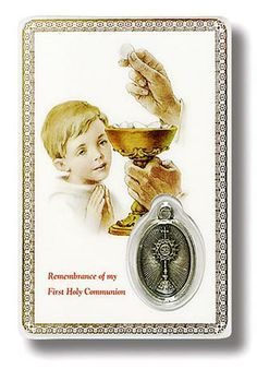Make a special day even more so with our Communion Prayer Card for Boy. Bordered in gold with a lovely illustration of a young boy receiving First Communion, it also features a silver medal depicting the Holy Host embedded on the same side, along with the text Remembrance of my First Holy Communion. The reverse showcases a heartfelt Catholic prayer that young boys can refer to during this momentous event in their lives.Give your son or other young male relatives something to...