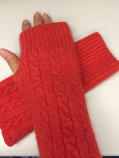 B46 Girl orange cable knit lambs  wool upcycled wool sweater by mcleodhandcraftgifts,