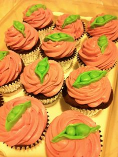 Pea in a Pod cupcakes for Twin Girl Baby Shower!