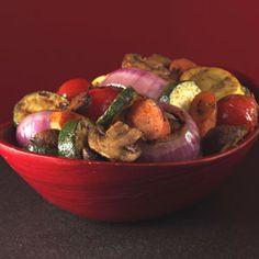 Cajun Summer Vegetables - yellow squash - zucchini - fresh mushrooms - medium onion - red onion - cherry tomatoes - carrots - Cajun seasoning