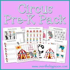Circus Pre-K Pack for Pre-K and K aged Kids!