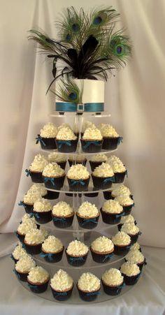 Peacock cupcake wedding tower