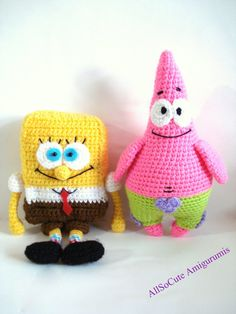 Pattern SpongeBob And Patrick Star Pattern Crochet by AllSoCute, $8.50