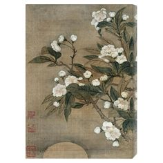 Pear Blossom and Moon by Shouping Canvas Print//