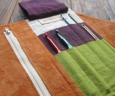 Hand Dyed Hemp/Organic Cotton Crochet Hook Case from goodkarma