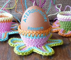 Crochet pattern colorful flower eggcup by by ATERGcrochet on Etsy