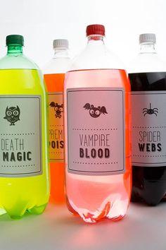 Free printable Halloween soda pop labels - 18 Fall Party Ideas, DIYs + Printables! | Babble #printable #Halloween #DIY