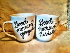 His & Hers Coffee Mug by enviousboutique on Etsy, $10.00. I think I could DIY. So cute!