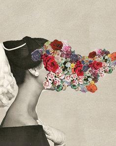 flower bomb, face off, inspir, flower power, collages, illustration art, flowers, flower face, art collag