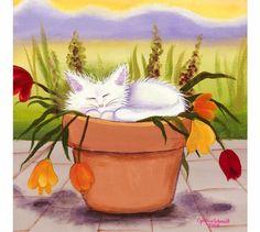Flowerpot Kitty  Cranky Cat CollectionTM by CrankyCats on Etsy