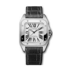 Cartier Midsize W20106X8 Santos 100 Automatic Leather Watch: Watches