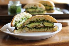Eggplant Sandwich: Roasted, Drizzled with Kale Pesto