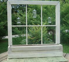 all white country primitive decor | Old Window Planter Primitive Cottage Country Garden or Home Decor