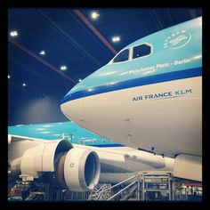 Two big 'boys' ready for maintenance in the hangars at Schiphol east.