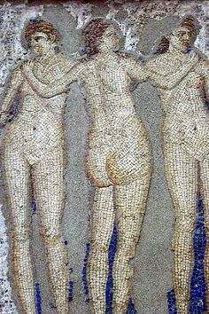 Ancient mosaic of The Three Graces from the House of Apollo in Pompeii