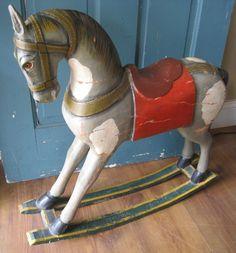 Antique English Carved Wooden Rocking Horse by myrtlejane on Etsy,