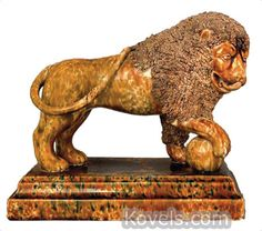 Bennington Figurine, Pattern or Item: Lion, Coleslaw Mane, Flint Enamel, Lyman Fenton, 1850 Description: 9 x 11 In.